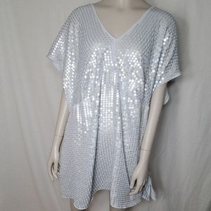 Lane Bryant Silver Sequined Top